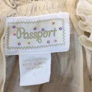 Passport Tops - Passport Boho Ecru Lace Peasant Blouse Sz L Hippie